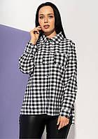 db7a57b5b79 Женская рубашка в клетку черно-белого цвета. Модель 21039. Размеры 48-54
