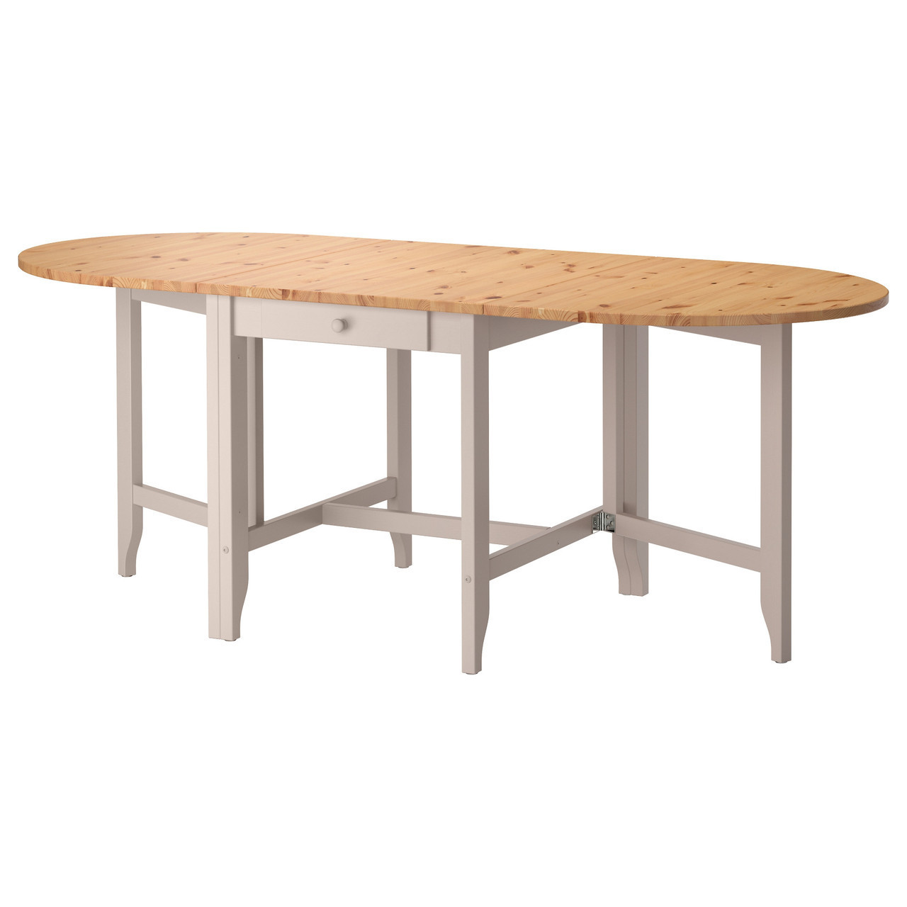 Стол IKEA GAMLEBY откидной морилка светлая патина серый 602.470.27