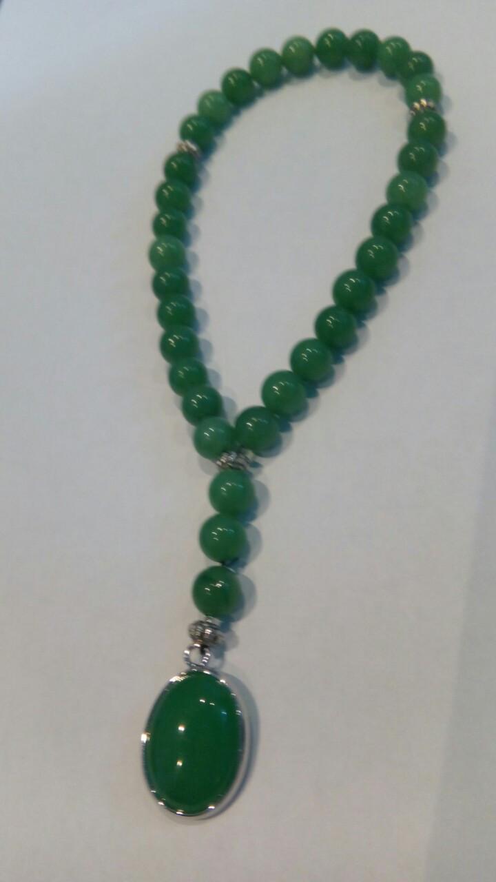 Чётки из натурального нефрита и кулона из натурального агата приятного расслабляющего зеленого цвета
