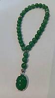 Чётки из натурального нефрита и кулона из натурального агата приятного расслабляющего зеленого цвета, фото 1
