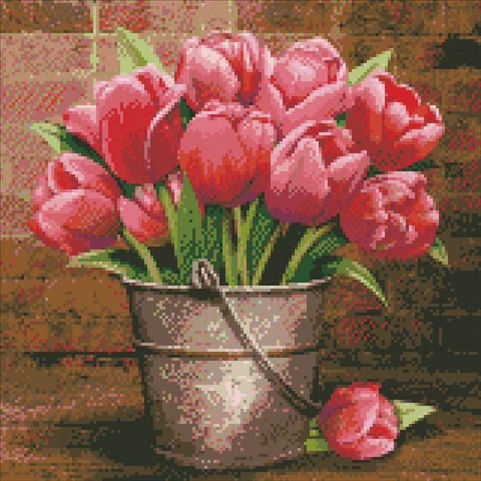 Алмазна вишивка Букет тюльпанів, 40х40 см