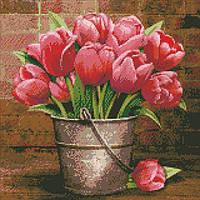 Алмазна вишивка Букет тюльпанів, 40х40 см, фото 1