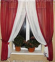 Комплект кухонные шторки с подвязками №17 Цвет бордовый с белым