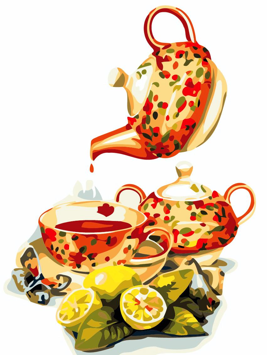 Художественный творческий набор, картина по номерам Чай с лимоном, 30x40 см, «Art Story» (AS0480)