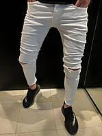 b687d6366fc Мужские белые скинни с рваными коленями