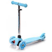 Самокат детский 3-х колесный со светящимися колесами Meteor Tucan Led wheels blue