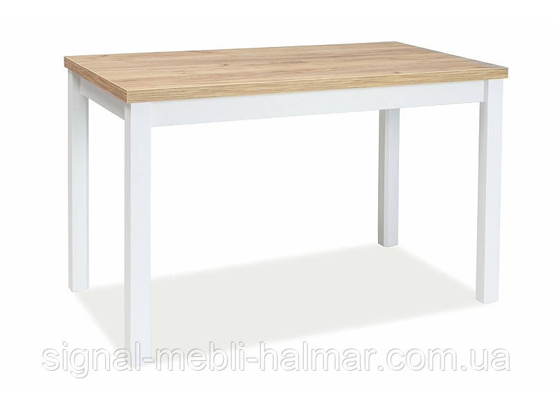 Кухонний стіл ADAM DĄB ZŁOTY CRAFT / БІЛИЙ МАТОВИЙ 120x68(Signal)