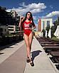 Красный слитный купальник с надписью, фото 3