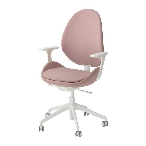 Вращающееся легкое кресло IKEA HATTEFJÄLL с подлокотниками Gunnared розовое белое 992.521.31