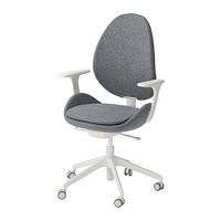 Вращающееся легкое кресло IKEA HATTEFJÄLL с подлокотниками Gunnared серое белое 892.521.36