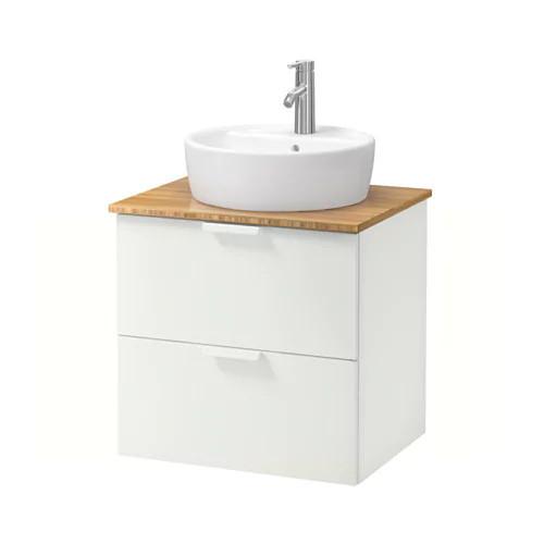 Шкаф с раковиной IKEA GODMORGON / TOLKEN / TÖRNVIKEN 62x49x74 см с ящиками бамбук белый 792.053.05