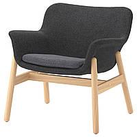 Кресло IKEA VEDBO Gunnared мягкое темно-серое 103.421.02
