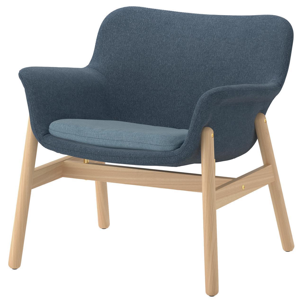 Кресло IKEA VEDBO Gunnared мягкое синее 504.235.73