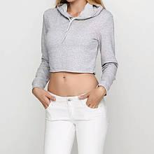 Кроп топ женский спортивный с капюшоном серый меланж