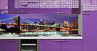 Кухонный фартук Ночной город (наклейка на стеновую панель кухни, полноцветная фотопечать, живописный мост)