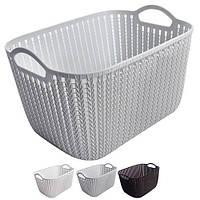 Корзина - плетенка с ручками Cabbage R84525 два цвета (белый, черный), 30*22*16.5см, Корзины бельевые, Пластиковые корзины для вещей