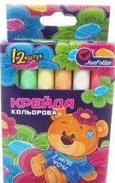 """Мел цветной круглый """"Мишутка"""" 8*1см 12шт., карт.уп., фото 2"""