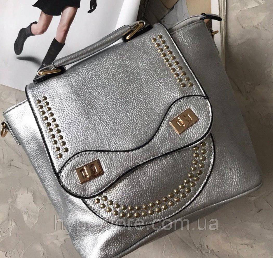 Сумка рюкзак женская, цвет серебро, ЧИТАЙТЕ ПОЖАЛУЙСТА ОПИСАНИЕ ТОВАРА