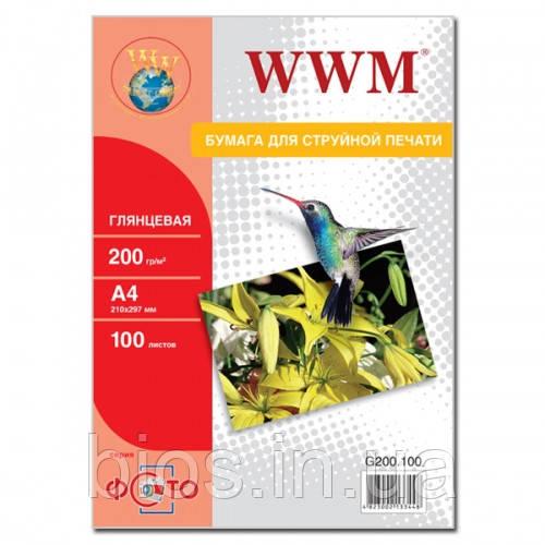Фотопапір WWM глянц. 200г/м кв A4 100л ( G200.100)