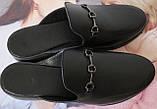Мюли в стилі Gucci жіночі.! Сабо на низькому ходу з закритим носком Шльопанці Гучи колір чорний, фото 5