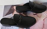 Мюли в стилі Gucci жіночі.! Сабо на низькому ходу з закритим носком Шльопанці Гучи колір чорний, фото 8