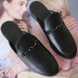 Мюли в стилі Gucci жіночі.! Сабо на низькому ходу з закритим носком Шльопанці Гучи колір чорний, фото 3