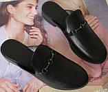 Мюли в стилі Gucci жіночі.! Сабо на низькому ходу з закритим носком Шльопанці Гучи колір чорний, фото 7