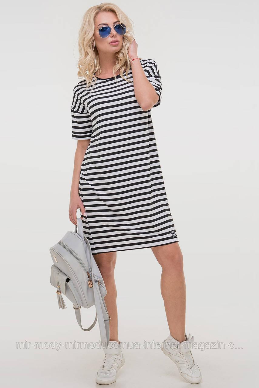 Летнее платье  полоски черной цвета с 44 по 52  размер (влн)