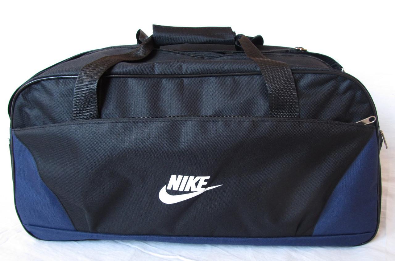 ca3926cf Дорожная сумка через плечо спортивная Найк 120-1 черная с синим 56см 39л,  ...