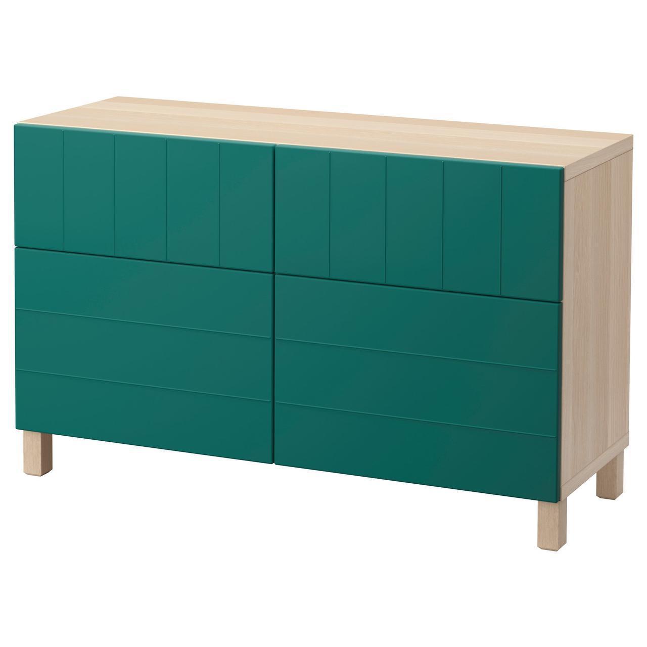 Тумба IKEA BESTÅ 120x40x74 см Hallstavik беленый дуб сине-зеленая 892.061.30