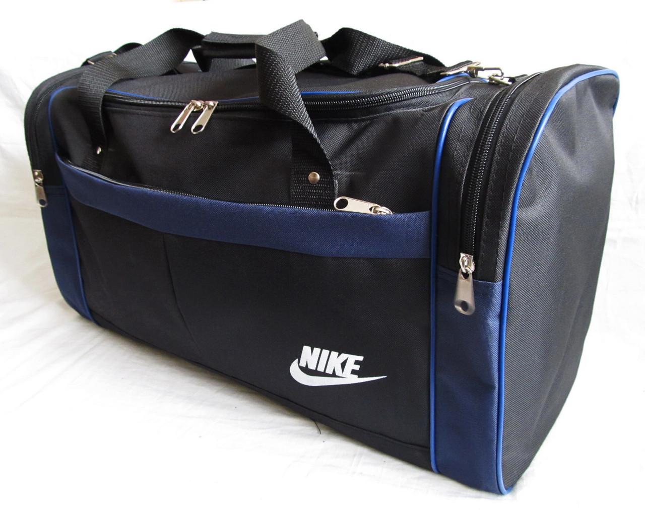 ded902e84fce Дорожная сумка через плечо спортивная Найк кубик черная с синим 57см 48л