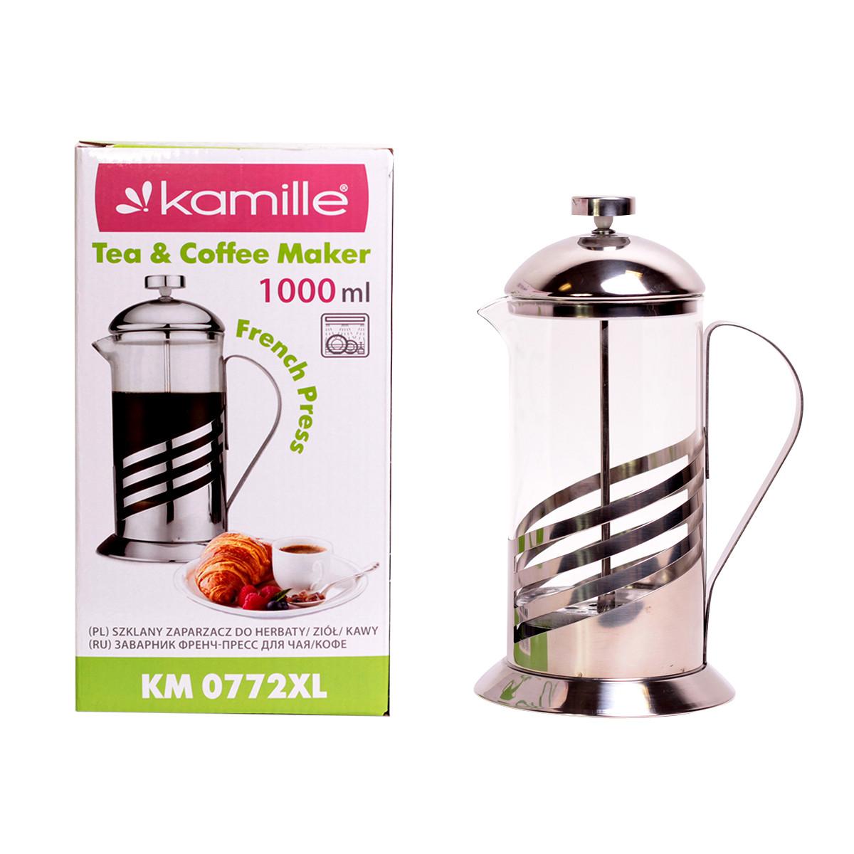 Френчпресс Kamille 1000мл (нержавеющая сталь, стекло) KM-0772XL