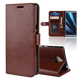 Чехол книжка для Sony Xperia 10 I3113 боковой с отсеком для визиток, Гладкая кожа, коричневый
