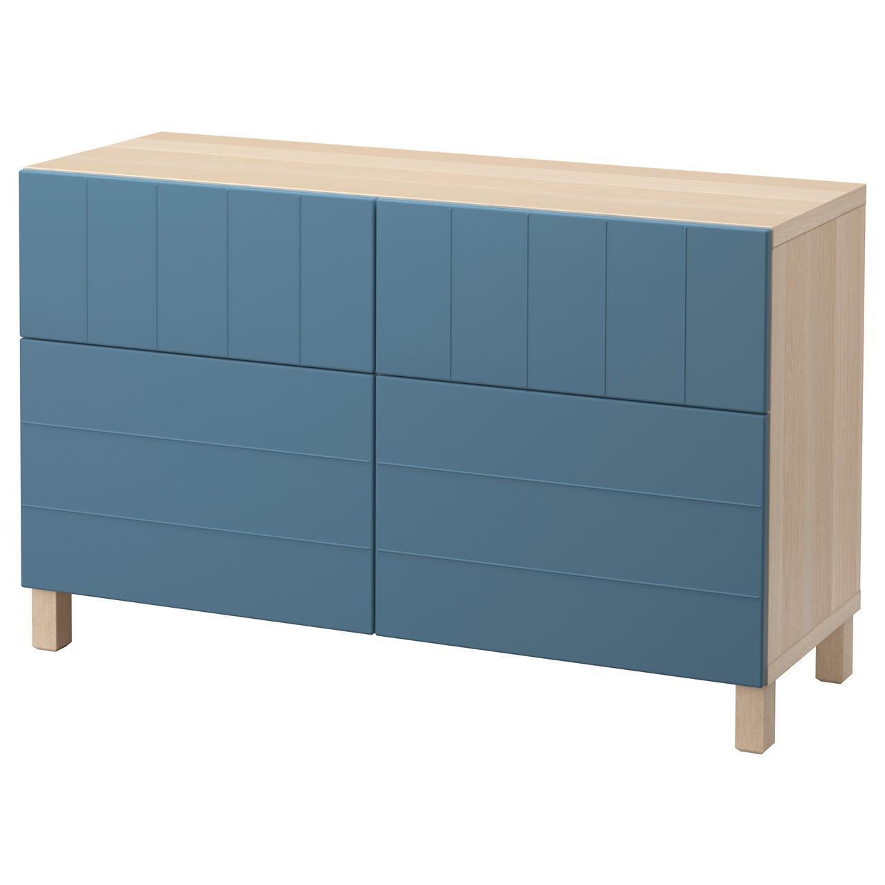 Тумба IKEA BESTÅ 120x40x74 см Hallstavik беленый дуб темно-синяя 992.061.44