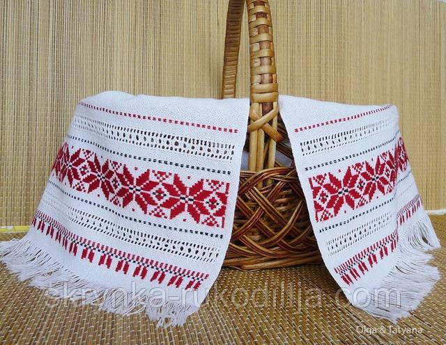 Фото Великодньої корзини с вишитим рушником