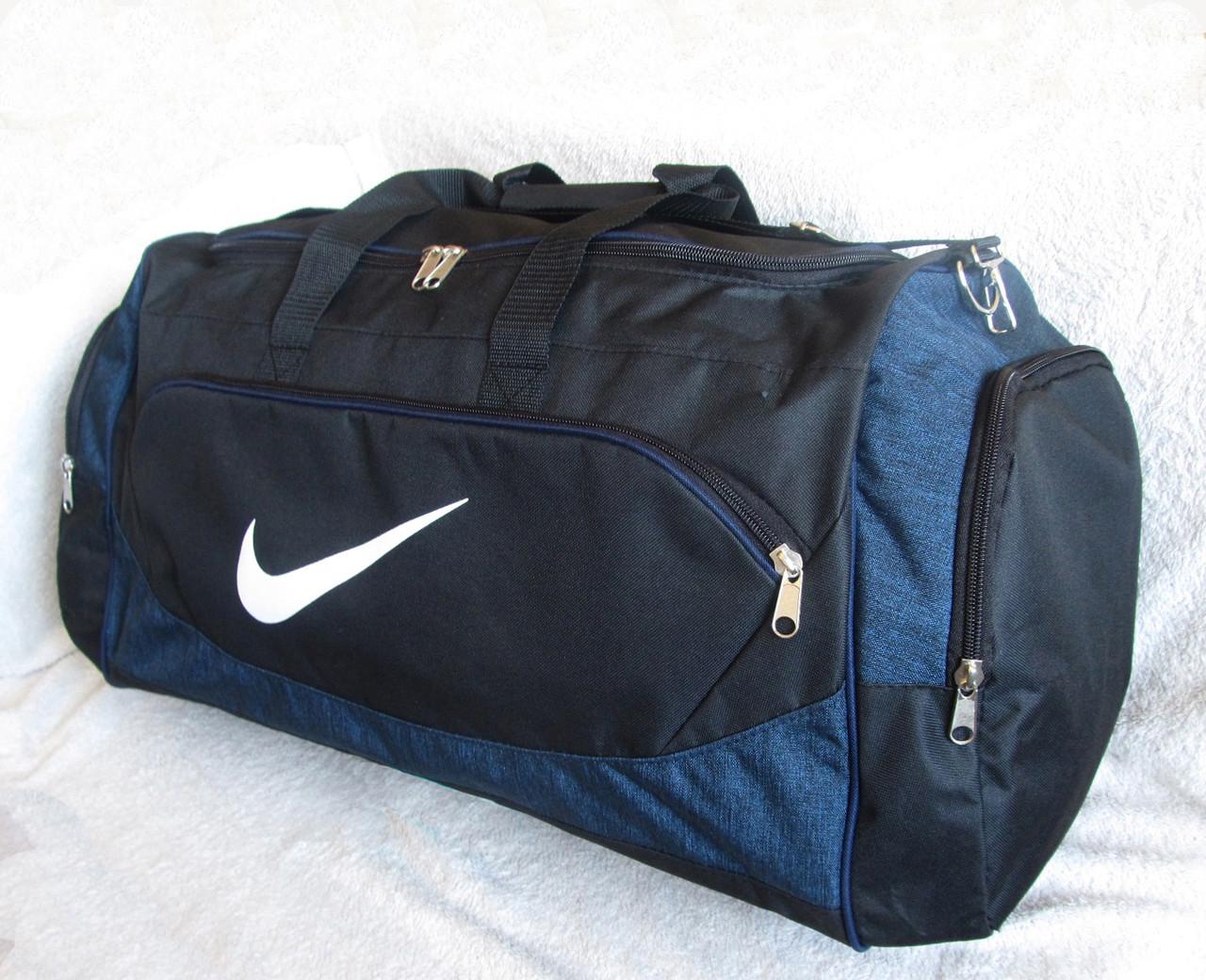 81a97f6fd150 Дорожная сумка через плечо спортивная Найк 145-2 черная с синим 60см 49л -  Интернет