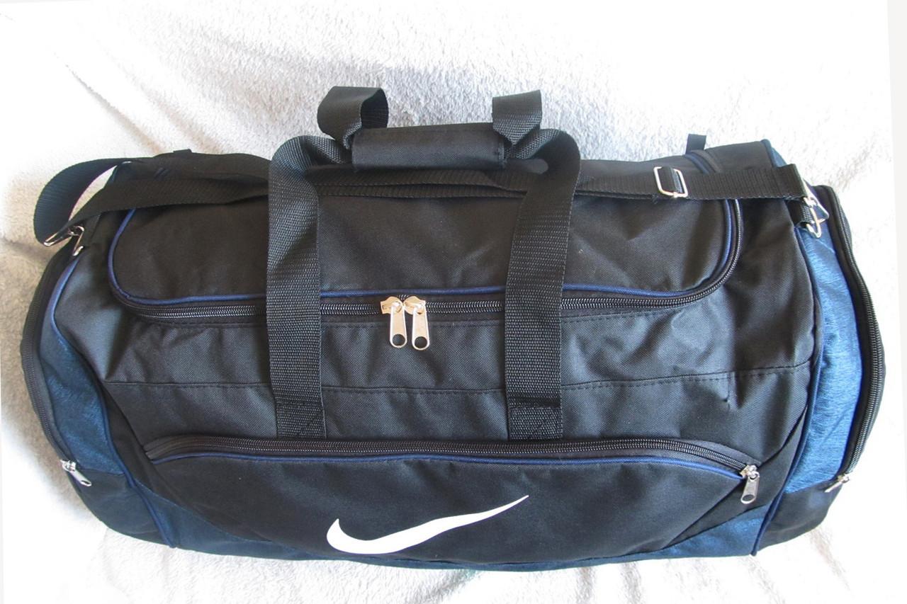 bd9a5926e2c3 ... фото Дорожная сумка через плечо спортивная Найк 145-2 черная с синим  60см 49л, ...