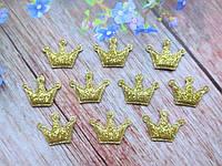 """Апплицация (патчи) """"Корона-мини"""", цвет золото, 25х24 мм, 20 шт."""