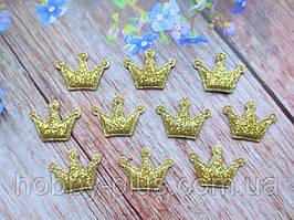 """Апплицация (патчи) """"Корона-мини"""", цвет золото, 25х24 мм, 10 шт."""