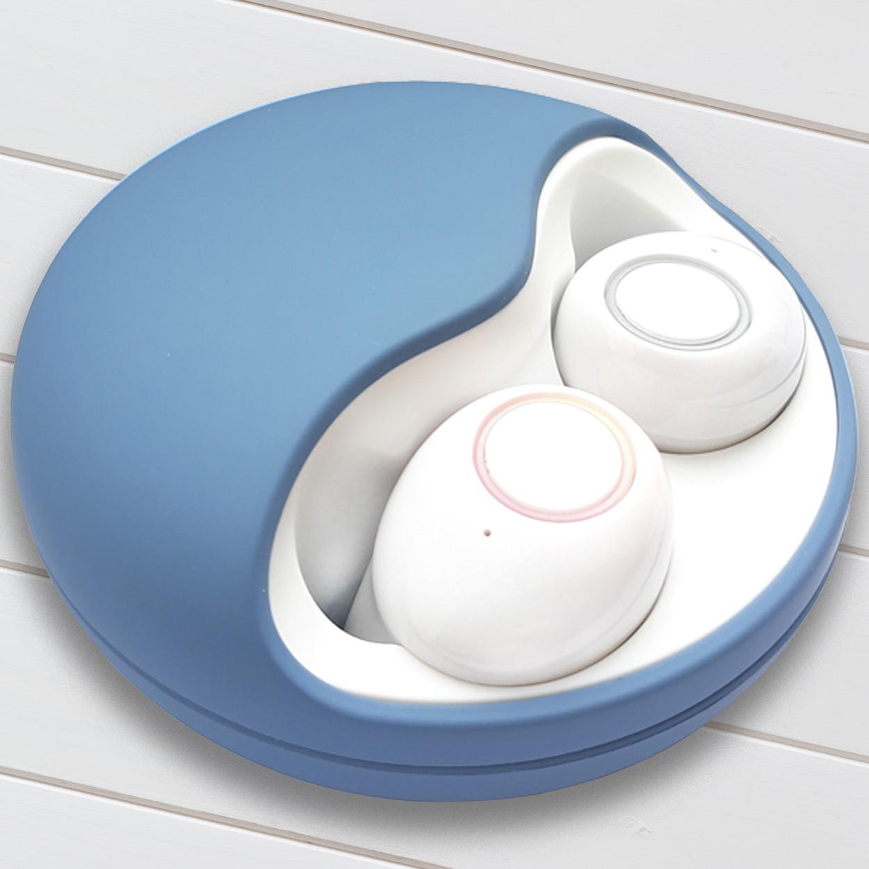 Наушники Wi-pods К10 беспроводные Bluetooth 5.0 блютуз-гарнитура с зарядным кейсом 500 мА*ч. Синие