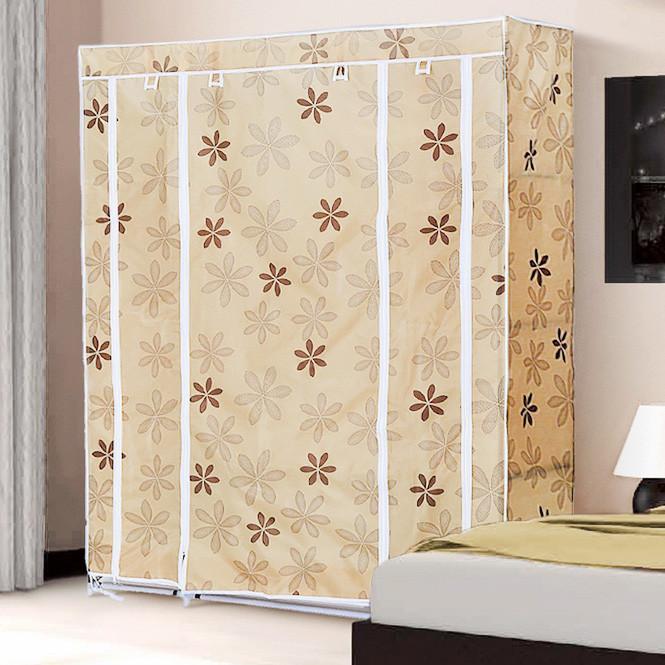 Большой тканевый шкаф для одежды 68130 beige (бежевый)