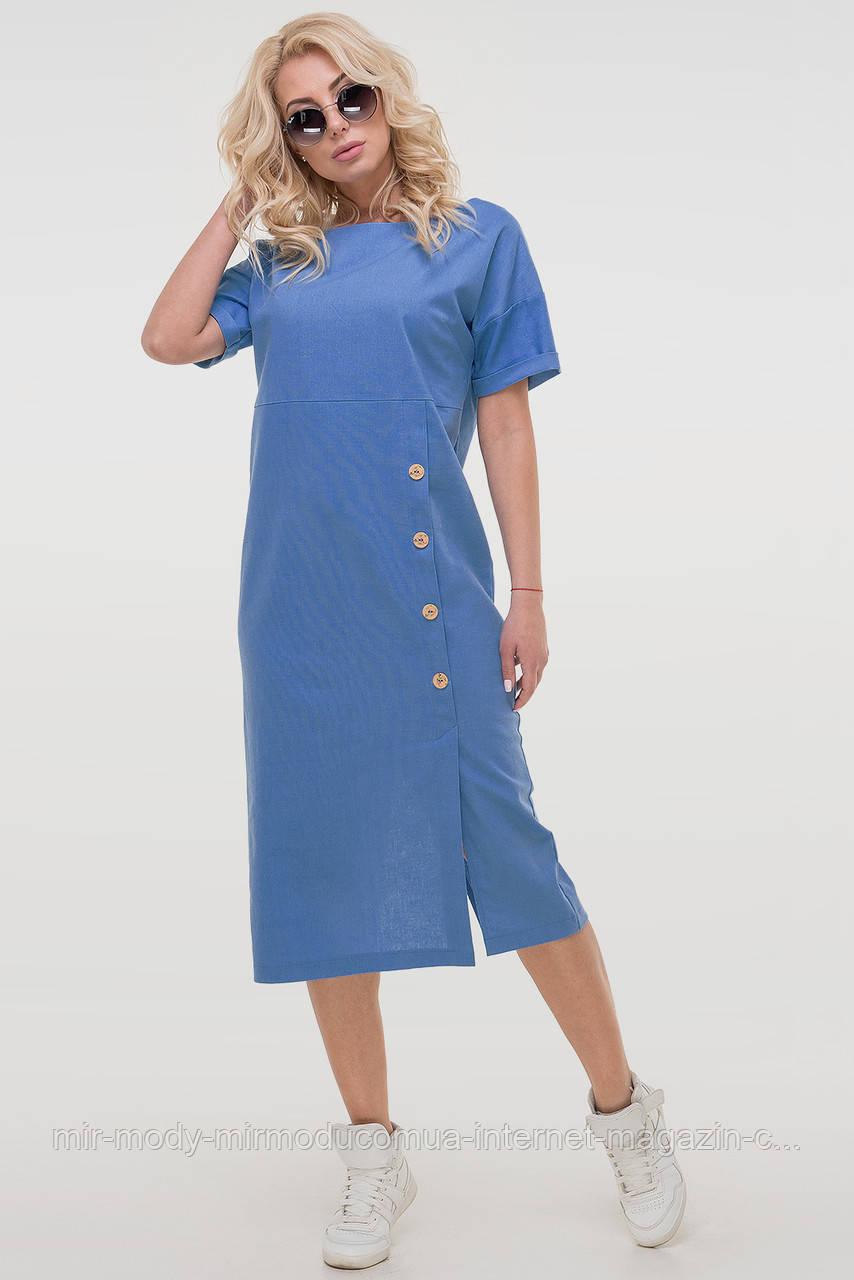 Летнее платье лен голубого цвета с 46 по 52  размер (влн)
