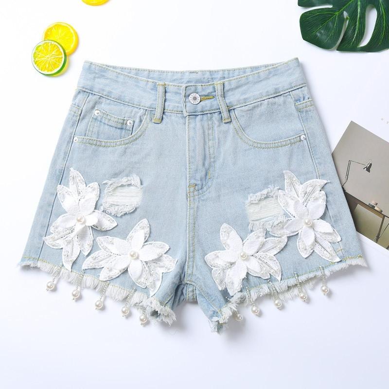 Молодежные шорты с цветами и бусинками 42, 44 (в расцветках)