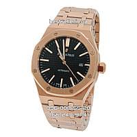 Часы Audemars Piguet Royal Oak 41mm (Механика ETA) Rose Gold/Black. Реплика: ELITE., фото 1