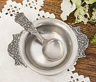 Коллекционная оловянная сахарница с ложкой, пищевое олово, Германия, винтаж, фото 1