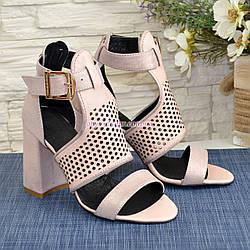 920f23145 Стильные женские кожаные босоножки на высоком устойчивом каблуке, цвет  розовый
