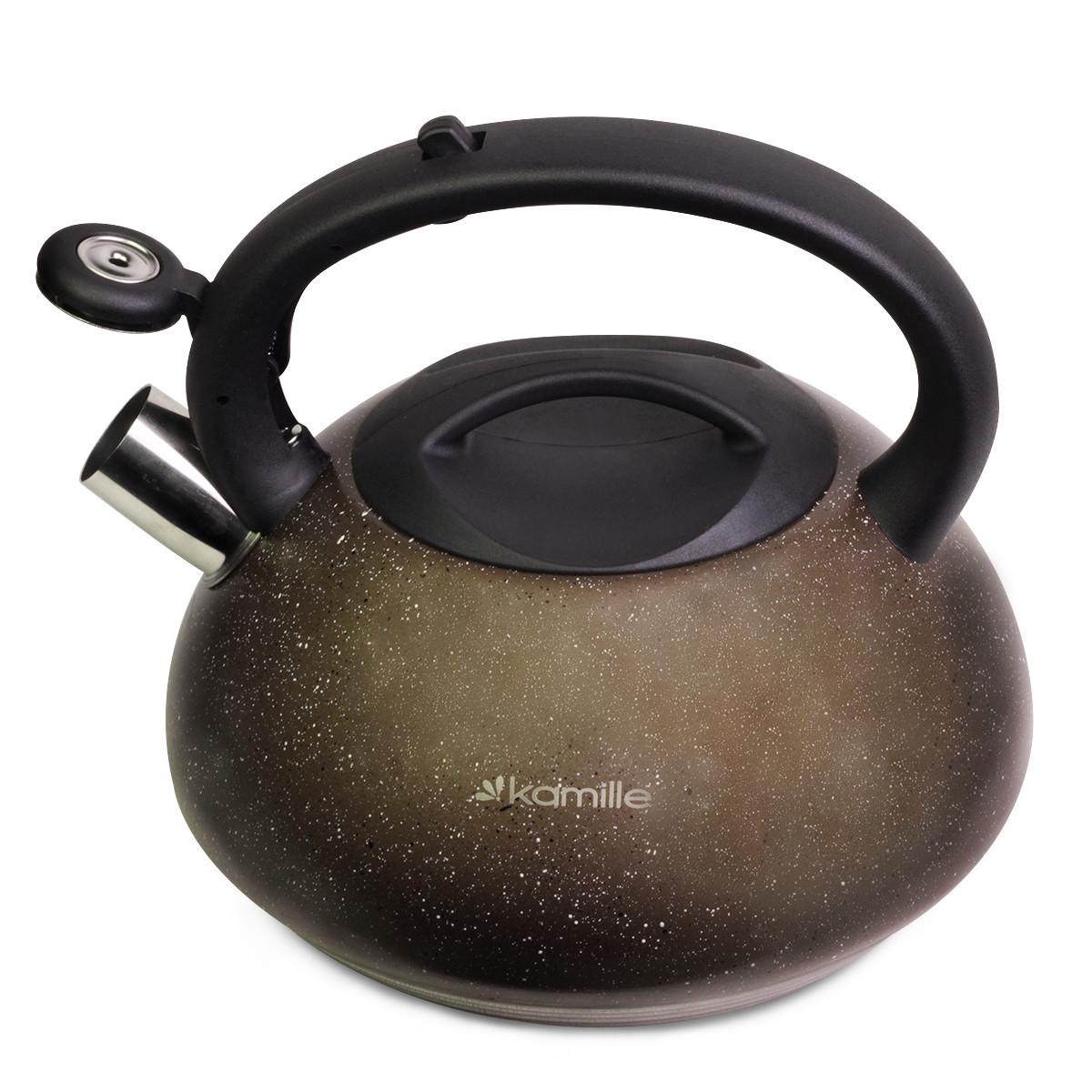 Чайник Kamille 3 л из нержавеющей стали со свистком бакелитовой ручкой индукционный