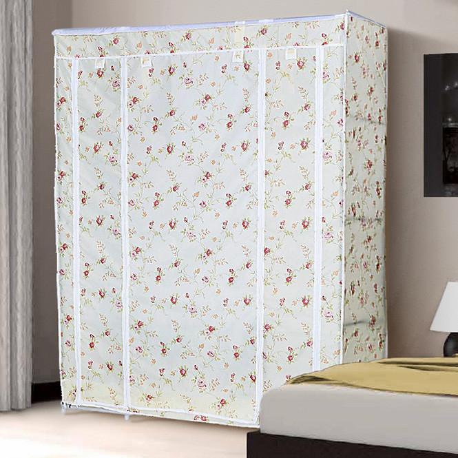 Большой тканевый шкаф для одежды 68130 розы прованс