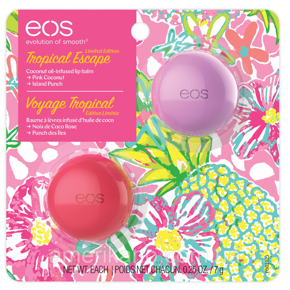 Бальзам для губ EOS pink coconut and island punch Кокос + пунш Набор из 2-х бальзамов