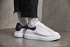 Женские кроссовки Alexander McQueen Leather Show Sneakers White Black 37 размер ( Реплика )